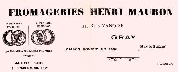 Publicité de la fromagerie MAURON au début du XXième siècle