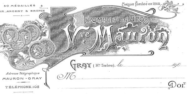 Entête des factures au début du XXième siècle